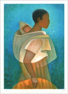 """TOFFOLI Louis - Lithographie Originale """"Maternité Noire"""" 76x56cm - 1991"""