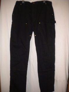 "Carhartt Size 40 X 34"" Inseam Black Double Knee Dungaree Fit Mens Carpenter Jean…"