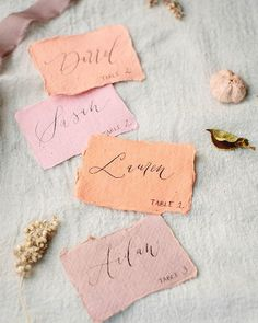 lovely escort cards -- fun color palette as well! Wedding Menu Cards, Card Box Wedding, Wedding Table Settings, Wedding Table Numbers, Wedding Stationary, Wedding Paper, Wedding Invitations, Invites, Pink Paper