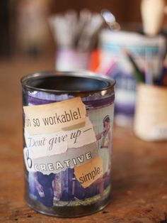 Transform an old tin can into a personalized, decoupaged storage bin. Let the kids cut out their favorite photos and sayings for a completely customizable look.