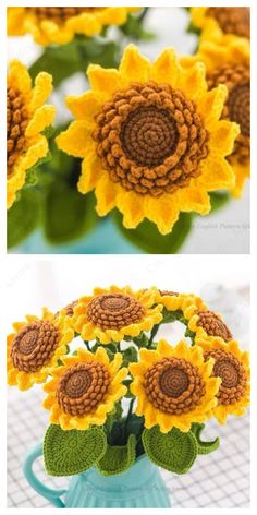 Sunflower Bouquet Free Crochet Patterns – DIY Magazine Sunflower Bouquet Free Crochet Patterns – DIY Magazine,Blumen + Blätter Related posts:I'm so bored pt 2 - - - Cricut projects . Cute Crochet, Beautiful Crochet, Crochet Crafts, Easy Crochet, Crochet Toys, Knit Crochet, Crotchet, Crochet Slippers, Crochet Stitches