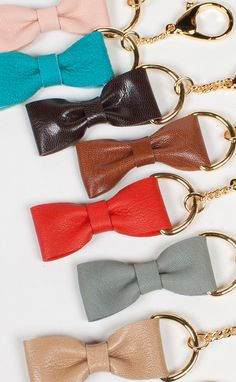 Leather Bow Keychain, Leather Keychain, keyring, bag charm, key clasp, bridesmaid gift