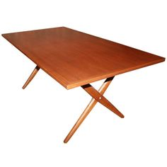 Hans Wegner X Base Trestle Teak Dining Table   From a unique collection of antique and modern dining room tables at https://www.1stdibs.com/furniture/tables/dining-room-tables/