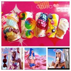 Katy Perry 'California Gurls' inspired nail❤ by azusa
