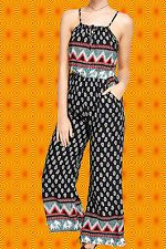 G476✪ Indian Boho Jumpsuit Overall HosenAnzug Paisley Muster Elefant Gr. 40 42