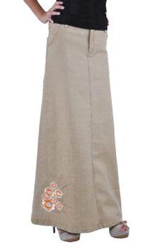 Style J Queenly Khaki Long Denim Skirt - Tobona.com