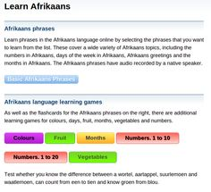 Free Afrikaans Audio Phrasebook, Games and Mobile Apps (Android, iOS) to Learn Basic Afrikaans for Travel and Living | Free Language
