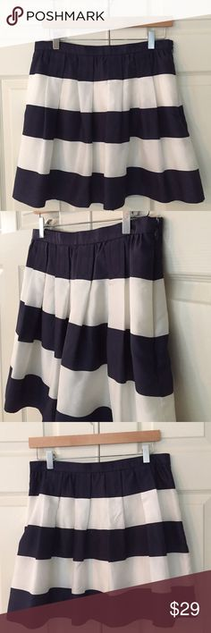 "🆕 J Crew Striped Silk Skirt classic J Crew preppy chic! navy and cream wide stripe silk skirt - fully lined with pockets. 100% silk with 100% poly lining. size 8. waist flat is 15"", length is 17"". since the fabric is silk there is natural and intentional slubbing to the fabrication but please see cliseup photo one a small 1"" snag on left backside approx 4"" from hem. otherwise excellent condition. J. Crew Skirts"