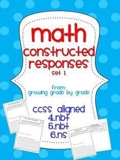 In these constructed responses, information must be recalled, but it may be put together in a new way. Students may be asked to explain their thinking, tell why they chose that solution path, or explain another situation in which they might have to use the same mathematical strategy. Stress to students that they may use more than one strategy to model their work – in fact, it's often beneficial to use more than one strategy. Use these as independent classwork, homework, or assessments.