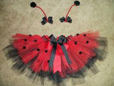 Ladybug tutu costume with antenna bows custom made door CatyRoseBows