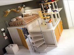 Contemporary Wooden Full Loft Bed Which Decorated With Striped Patterned  Mattress And Gray Painted