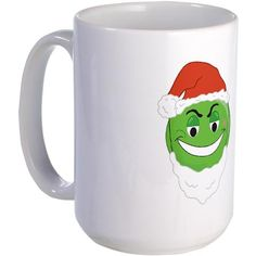 GRINCH SMILEY Funny Large Mug by CafePress. Grinch Smiley Gifts Apparel Green Smile Face Happy Holidays Toys Santa Claus Christmas Adults Teens Kids Children Toddler Baby Girl Boy Attitude Rude Humor Funny Naughty Nice Good Bad Humbug Scrooge Funny Large Mug Express yourself with our premium-sized ceramic coffee mug. With its large easy-to-grip handle, steady base, and hefty 15 oz. capacity, this mug allows for comfortable sipping and slosh-free use, at home or at the office. Dishwasher…
