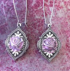 Shabby Chic Pink Roses Earrings Flower Girl by RedGypsyJewelry