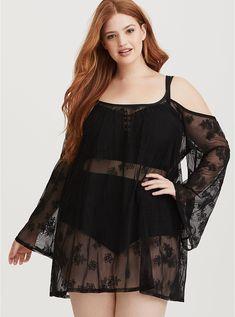 e734e53a70b Plus Size Black Embroidered Mesh Swim Cover-Up