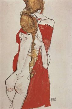 Mother and daughter - Egon Schiele. This touching composition showing a mother and daughter, done in 1913.A suspenseful and at the same time exceptionally unified composition: the dominant diagonal axis of the girl's elongated body is balanced out by the ponytail, hanging straight downward, and the diagonal line at a roughly opposite angle to the central axis which traces both the forearm of the mother and the right upper arm of the girl.
