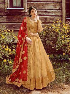 Designer Gold reception wear lehenga choli for punjabi bride with contrast red dupatta