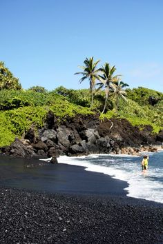 Pa'iloa Beach (black sand beach), Road to Hana, Maui, Hawaii Hawaii Honeymoon, Hawaii Vacation, Maui Hawaii, Vacation Places, Vacation Destinations, Dream Vacations, Vacation Spots, Places To Travel, Oh The Places You'll Go