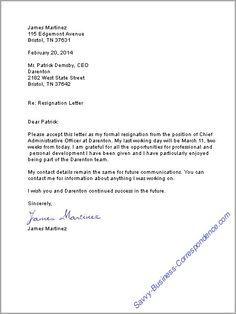 Resignation Letter Example - http://www.resumecareer.info ...