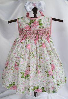 Paris Rose Hand Smocked Baby Dress 6 months от myheavenlydesigns