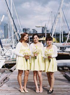 Cute yellow bridesmaid dresses with cardigans {Zara TRF Line} Photography: Ken Tan - kentanphoto.com