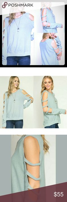?? Blue knit cutout sleeve sweater ?? Powder blue (light blue/pale blue) knit sweater with cutout design along sleeves. Super cute and on trend.  Soft and comfy sweater made of 70% cotton 30% acrylic.  Super cute and well made.   Small medium and large available preppybohemian  Sweaters
