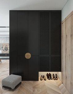 Wardrobe Door Designs, Wardrobe Design Bedroom, Wardrobe Doors, Closet Designs, Closet Bedroom, Black Wardrobe Closet, Home Interior, Interior Decorating, Garderobe Design