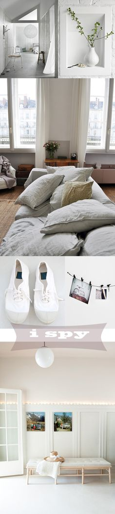 love that bed, pillows, picture-color-pops, parisian view...