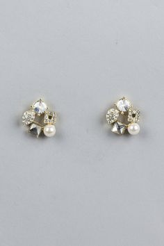 Pearl Crystal Studs + Classic Wedding/ New years sparkle