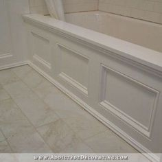 DIY Bathroom Remodel Before And After DIY paneled bathtub skirt for a standard apron side soaking tub Bathtub Skirt, Diy Bathroom, Home Improvement Projects, Bathroom Makeover, Home Remodeling, Diy Bathroom Remodel, Bathroom Renovations, Home Diy, Bathroom Decor