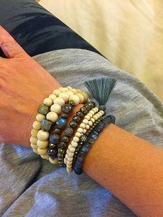 Rustic White Bone Beads, Labradorite and Gray Cotton Tassel Stretch Wrap Bracelet