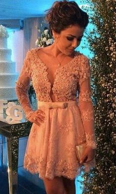 http://banquetgown.storenvy.com/collections/1321911-homecoming-dresses/products/16700382-2016-princess-lace-long-sleeves-homecoming-dress-beaded-deep-v-neckline-bow