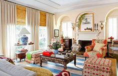 Colors and patterns mingle in this exotic West Hollywood home - Traditional Home®  Photo: John Ellis Design: Carmen Lopez