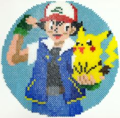 Perler Bead: Ash and Pikachu by thewiredslain on deviantart