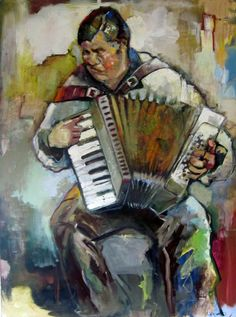 Figure painting man with accordion Large by StudioJulietteB