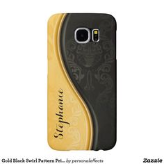 Gold Black Swirl Pattern Print Design Samsung Galaxy S6 Case - typography, word, gold, black, swirl, pattern, print, design, floral pattern, botanical