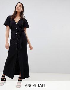 0c8ad777f2a ASOS DESIGN Tall faux shell button through maxi tea dress