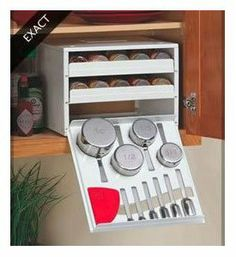 Exact Spice Stack - Spice Rack and Cabinent by YouCopia. $37.50. Find and reach store-bought spices quickly. Includes leveler for precise measuring. This Exact Spice Rack is an all encompassing culinary tool that is a necessity in any kitchen. This spice rack includes ten stainless steel measuring cups and spoons as well as a leveler for precise measuring. In addition it holds 18 full size or 36 half size spice bottles