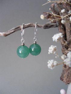 Green Jade EarringsSimple Gemstone EarringsLever-backsJade