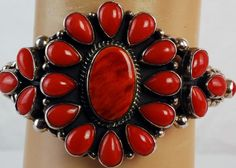 ANDY CADMAN NAVAJO STERLING SILVER CORAL AND RED SPINY OYSTER CUFF BRACELET