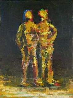 Two Figures at Night Night, Figurative, Lust, Artist, Paintings, Big Cats, Paint, Artists, Painting Art
