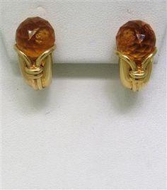 Bvlgari Bulgari 18k Gold Citrine Earrings. Available @ hamptonauction.com for the March 16, 2014 auction!