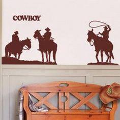 $8.31 Fashion PVC Bedroom Sticker Home Decor Wall Sticker with Cowboy Pattern
