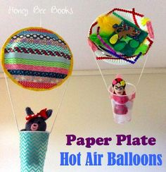 Paper Plate Crafts 451697037603221807 - Paper Plate Hot Air Balloon with disposable cup for the basket. (Would pipe cleaners be strong enough to hold up the paper plate?) Source by sceret Toddler Crafts, Kids Crafts, Arts And Crafts, Easy Crafts, Preschooler Crafts, Transportation Activities, Preschool Activities, Vocabulary Activities, Paper Plate Art