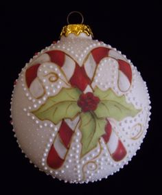 Candy Cane and Holly Christmas Ornament - Handmade Porcelain Collectible - Robin Harley Porcelain Artist - 2011