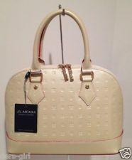 Arcadia 3875 Cream Leather Bag Purse Handbag Italy NWT PARTY Summer Wedding NWT-Mine is a stunning mocha!