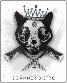 crane de chat tire bouchon croix inversée couronne 666 vinyl scanner bistro quebec