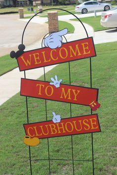 Welcome to My Clubhouse Yard Sign This listing is for three separate handmade signs with the saying Welcome To My Clubhouse that can be Mickey Mouse Classroom, Mickey Mouse Clubhouse Party, Mickey Mouse Clubhouse Birthday, Mickey Mouse Parties, Mickey Party, Mickey Mouse Birthday, Mickey Minnie Mouse, 1st Boy Birthday, Disney Parties