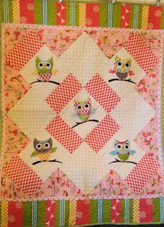 VeryCute Owl Baby Quilt by sunflowerchickentoo on Etsy, $90.00