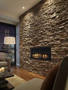 Excellent Free brick and Stone Fireplace Tips – farmhouse decor Stone Wall Living Room, Dark Walls Living Room, Living Room With Fireplace, Inset Fireplace, Fireplace Wall, Fireplace Design, Fireplace Stone, Fireplace Ideas, Stacked Stone Fireplaces