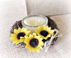 Yellow Sunflower and Twig Candle Ring Wreath Centerpiece -- Find out more details by clicking the image : Handmade Gifts